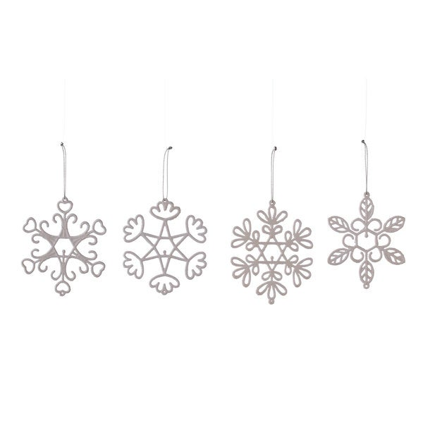 Sage & Co 4-inch Flocked Snowflake Christmas Ornaments, Box Of 4 Assorted (Pack of 96)