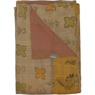 Taj Hotel Vintage Handmade Yellow/ Taupe Kantha Rectangular Throw