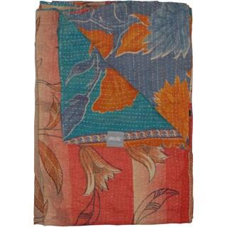Taj Hotel Vintage Handmade Pink/ Blue Kantha Rectangular Throw Blanket