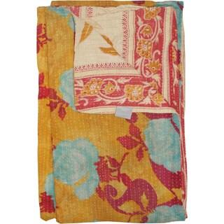 Taj Hotel Vintage Handmade Kantha Yellow Blanket