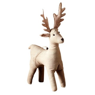 Sage & Co 16.5-inch Large Burlap Deer Christmas Ornament (Pack of 4)
