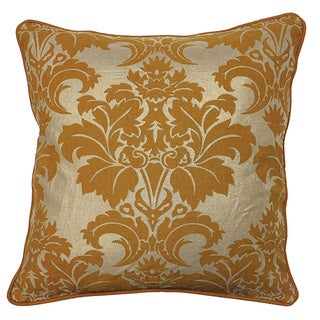 Flower Fleur Mustard 20-inch Feather and Down Filled Decorative Pillow