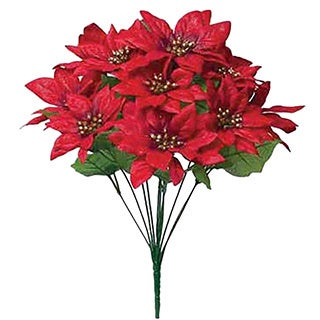 Sage & Co 19-inch Glitter Poinsettia Bush, Assortment of 2 (Pack of 12)