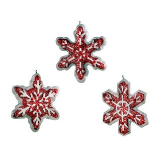 Sage & Co 4-inch Snowflake Christmas Ornament, Assortment of 3 (Pack of 12)