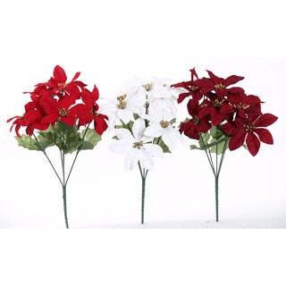 Sage & Co 13-inch Velvet Poinsettia Bush, Assortment of 3 (Pack of 24)