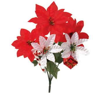 Sage & Co 13-inch Novelty Poinsettia Bush, Assortment of 2 (Pack of 24)