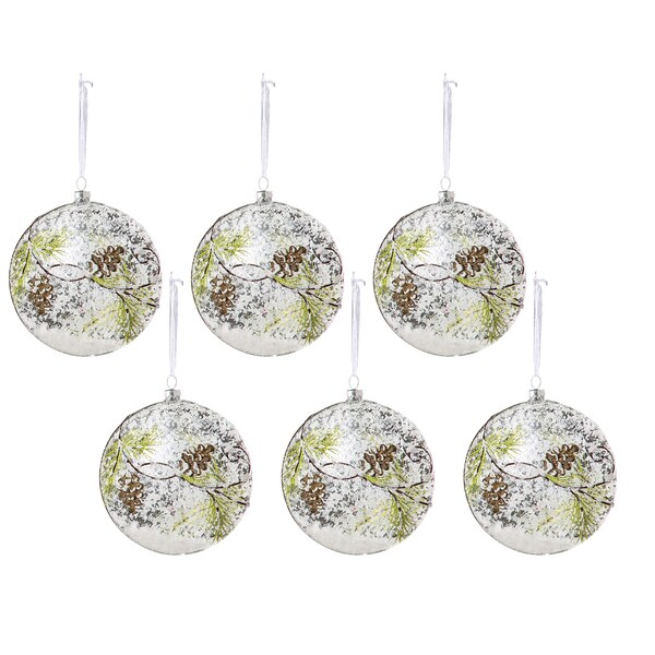 Sage & Co 5-inch Snowy Glass Pine Cone Disc Christmas Ornament (Pack of 6)