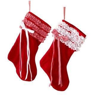 Sage & Co 6-inch Ruffled Christmas Stocking Ornament, Assortment of 2 (Pack of 2)