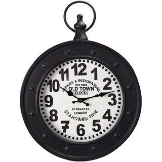 """Adeco Black Iron Vintage-Inspired """"Old Town Clocks"""" Pocket Watch Style Hanging Wall Clock"""
