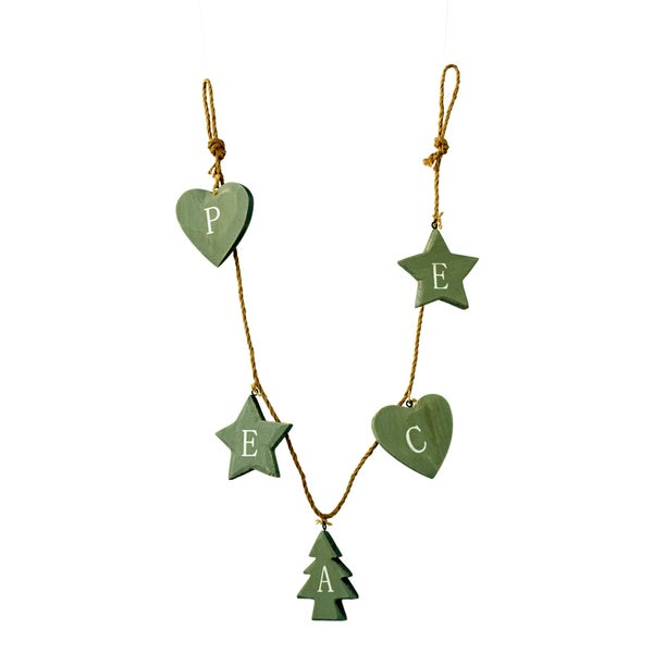 Sage & Co 3' Wood Peace Garland, Pack Of 8