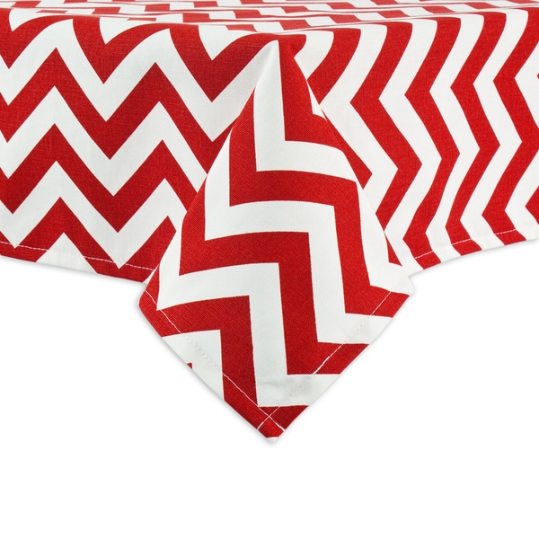 Zig Zag Lipstick Red Hemmed Tablecloth