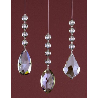 Sage & Co 7-inch Crystal Drop Christmas Ornaments, Assortment of 3 (Pack of 12)
