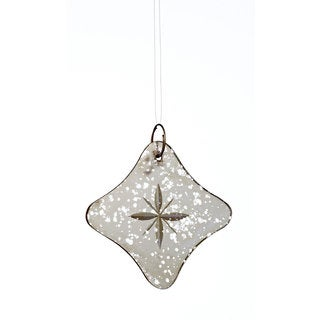 Sage & Co 3.15-inch x 3.15-inch x 2-inch Etched Antque Mirror Star Christmas Ornament (Pack of 2)