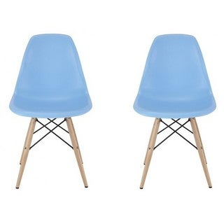 Contemporary Retro Molded Eames Style Blue Accent Plastic Dining Shell Chair (Set of 2)