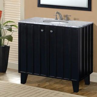 Carrara White Marble Top Black Finish 36-inch Single Sink Soft-closing Doors Bathroom Vanity