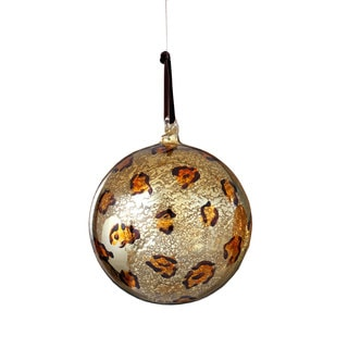 Sage & Co 4-inch Glass Leopard Print Ball Christmas Ornament (Pack of 6)