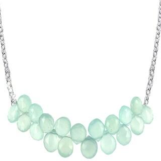 Ashanti Sterling Silver Aqua Chalcedony Gemstone Handmade Necklace (Sri Lanka)