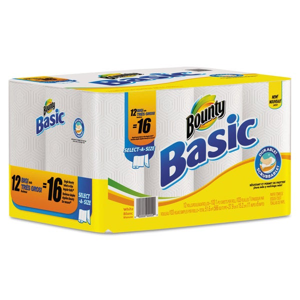 Bounty Basic Select-a-Size Paper Towels, 11 x 11, White, 103 Sheets/Roll, 12 Rolls/Pack