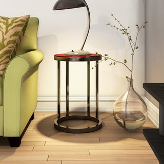 Alexandria Cherry Finish Round Side Table