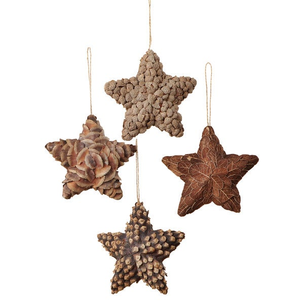 Sage & Co Natural Star 6-inch 4-style Christmas Ornaments (Pack of 4)