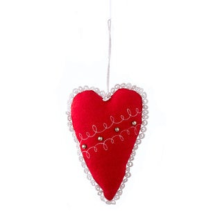 Sage & Co 6-inch Red Wool Heart Christmas Ornament (Pack of 6)