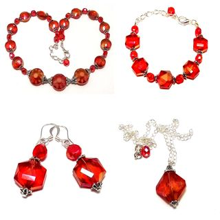 Silverplated Metal Orange Crystal Wedding Necklace and Earring Set