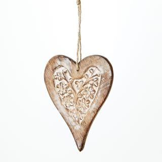 Sage & Co 4-inch Carved Wood Heart Ornament (Pack of 12)