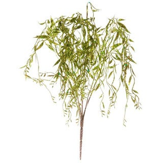 Sage & Co 24-inch Glittered Green Willow Bush (Pack of 12)