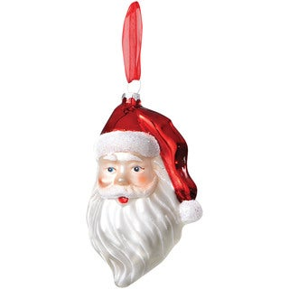 Sage & Co 4.5-inch Glass Santa'S Head Christmas Ornament (Pack of 12)
