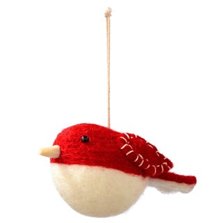 Sage & Co 4.75-inch Red Felt Robin Ornament (Pack of 12)
