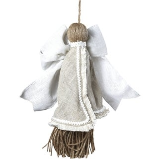 Sage & Co 8.5-inch Linen Angel Christmas Ornament (Pack of 12)