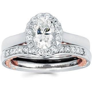14k Two-tone Gold 1 1/3ct TDW Oval Diamond Bridal Set (I-J, I1-I2)