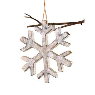 Sage & Co 12-inch Wood Snowflake Christmas Ornament (Pack of 4)