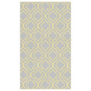Hand Woven Royal Classics Grey/ Yellow Moroccan Printed Cotton Rug (2'4 x 4')