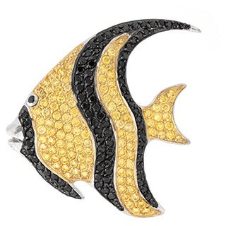 Pave Yellow and Black Cubic Zirconia Angel Fish Design Silver Pin