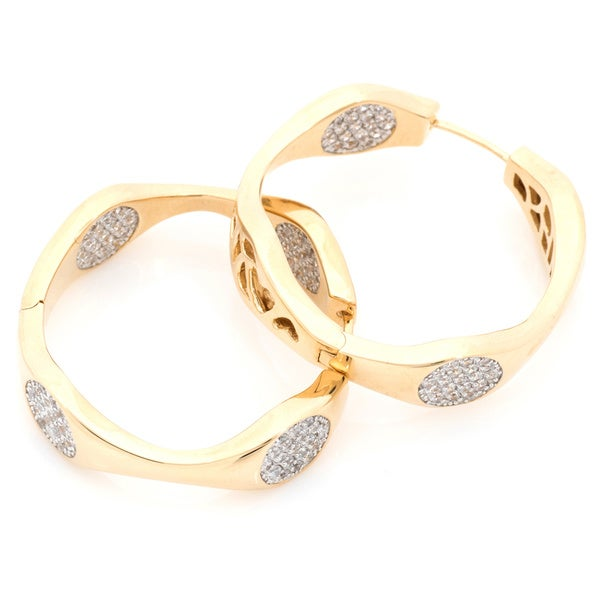 Gold Over Silver Pave-set Round Disk Link Style Hoop Earrings