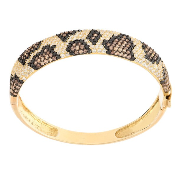 Sterling Silver Pave-set Python Print Cubic Zirconia Bangle Bracelet