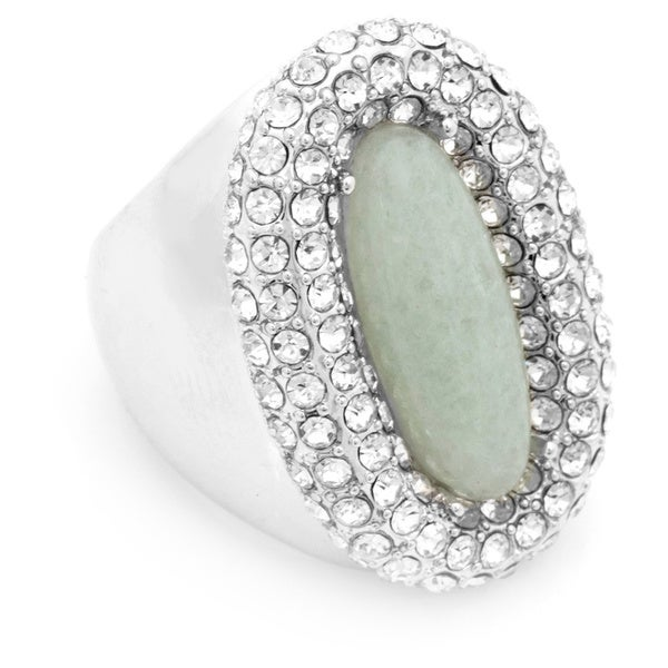 Simulated Jade Crystal Dome Ring