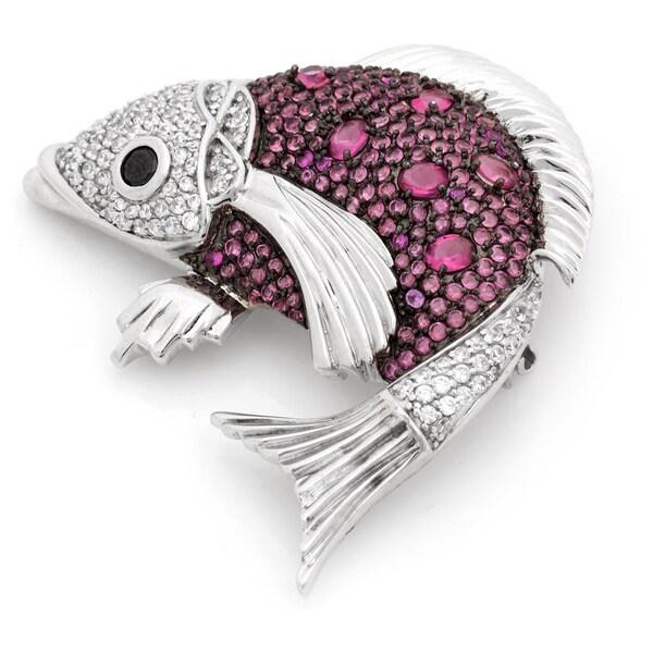 Pave Cubic Zirconia Koi Fish Design Silver Pin