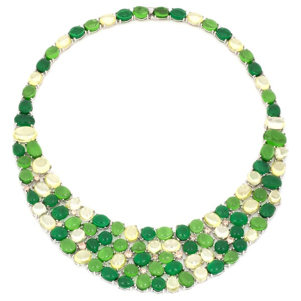 Multi Green Shade Crystal Cabochon Full Necklace