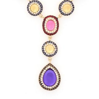 Multicolor Oval Shape Pave Crystal Drop Necklace