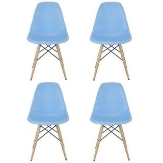 Contemporary Retro Molded Eames Style Blue Accent Plastic Dining Shell Chair (Set of 4)