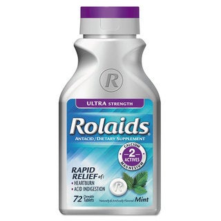 Rolaids Ultra Strength Heartburn Mint Flavor Tablets (Bottle of 72)