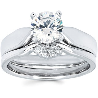 14K White Gold 1ct TDW Diamond Solitaire Bridal Set (I-J, I1-I2)