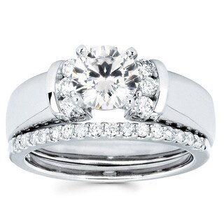 14K White Gold 1 1/3ct TDW Round Diamond Bridal Set (I-J, I1-I2)