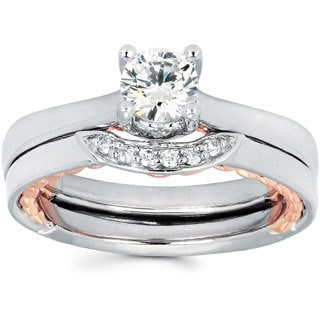 14K White and Rose Gold Round-cut Diamond Bridal Set (I-J, I1-I2)