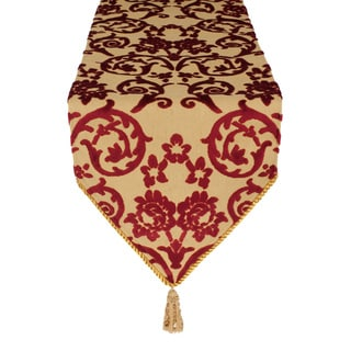Sherry Kline Bruges Embossed Red Velvet Luxury Table Runner