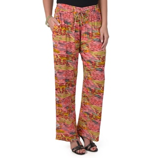 Journee Collection Women's Printed Wide Leg Drawstring Trousers
