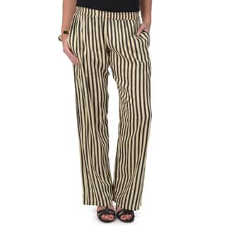 Journee Collection Women's Striped Wide Leg Pull-on Trousers