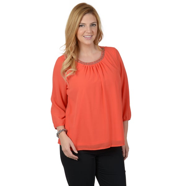 Timeless Comfort by Journee Women's Plus Round Neck Embellished Woven Blouse